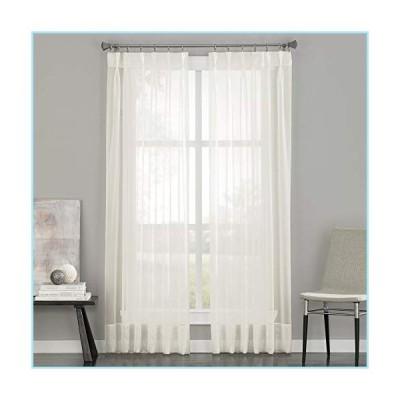 """新品Curtainworks Soho Voile Sheer Pinch Pleat Curtain Panel, 29 by 108"""", Oyster,1Q805908OY"""