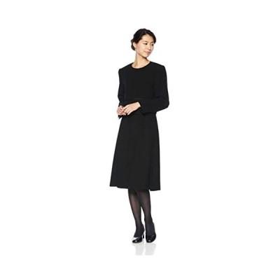 [ブラックギャラリー] アンサンブル(ワンピーススーツ) ノーカラージャケットとシフォン袖&前開きワンピのアンサンブル (ブラック 5 号)