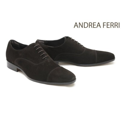 アンドレア フェリ / ANDREA FERRI メンズ ドレスシューズ g12dbrs ストレートチップ(キャップトゥ) ダークブラウンスエード イタリア製