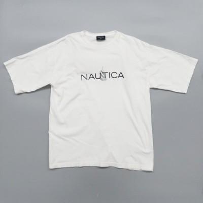 オールド ノーティカ ロゴ プリント 白Tシャツ サイズ表記:XL