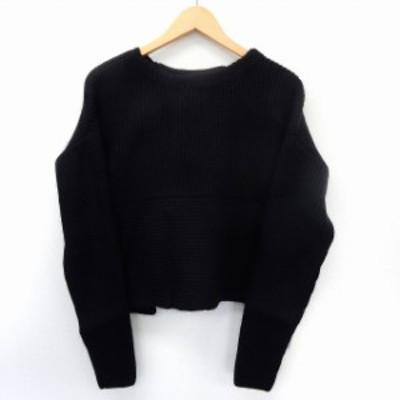 【中古】未使用品 クラネ CLANE タグ付き ニット セーター プルオーバー 長袖 バックスリット シンプル 2 ブラック