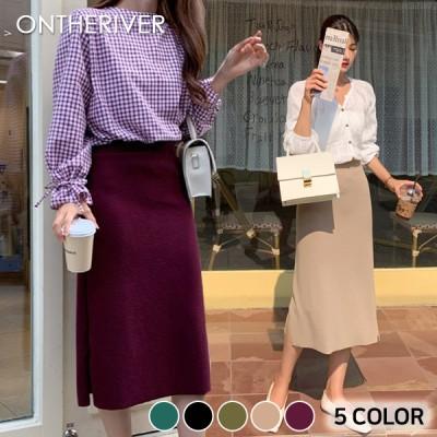 93520エイドバンディングスリットロングスカート[ontheriver] 送料0円! 大人可愛いデイリールック。韓国ファッションNo.1