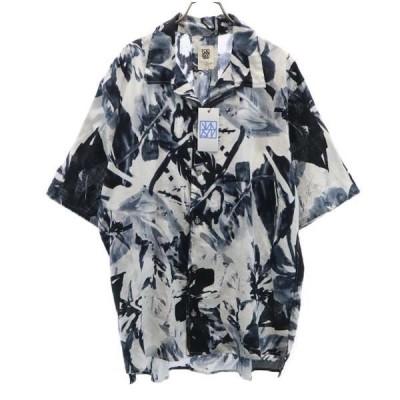 新品 バースト222 19ss  総柄 半袖 リネンシャツ 2 白×黒 vast222 メンズ 古着 210304 メール便可