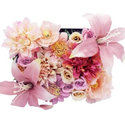 Lumiphire 造花 アレンジメント 額縁付 花の芝生 壁掛け 卓上置き 置物 インテリア おしゃれ 人気 誕生日 クリスマス プレゼント 女性
