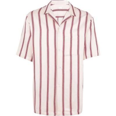 オット バイ ユークス 8 by YOOX メンズ シャツ トップス striped oversize s/sleeve shirt striped shirt Ivory