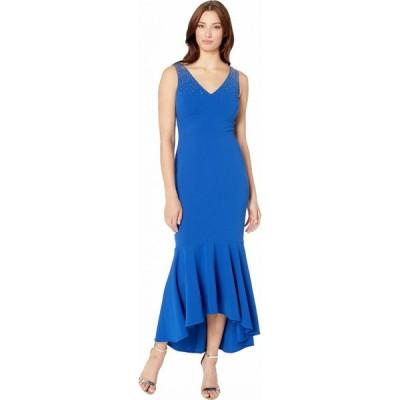 カルバンクライン Calvin Klein レディース パーティードレス ワンピース・ドレス High-Low Gown with Embellished Shoulder Regatta