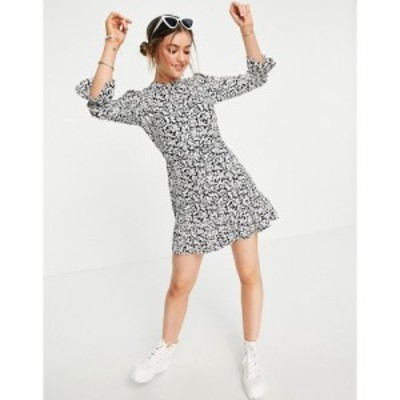 ミス セルフリッジ Miss Selfridge レディース ワンピース ワンピース・ドレス frill hem fit and flare dress in mono floral ブラック