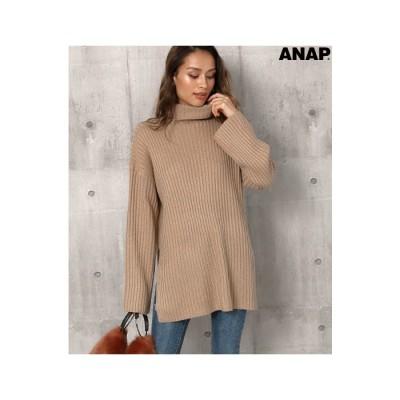 ANAP サイドスリットタートルニット / ANAP / 153-4462 楽ちん ブラウン  レディース