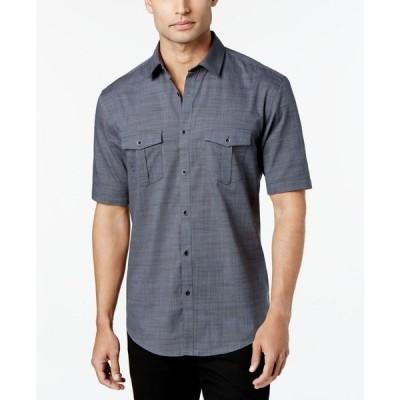 アルファニ Alfani メンズ 半袖シャツ トップス Warren Textured Short Sleeve Shirt Cobalt Hue
