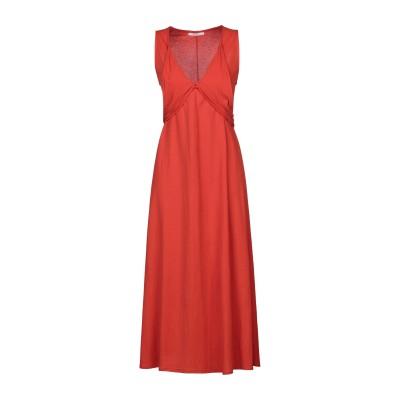 PAOLA PRATA 7分丈ワンピース・ドレス 赤茶色 S レーヨン 50% / ナイロン 50% 7分丈ワンピース・ドレス