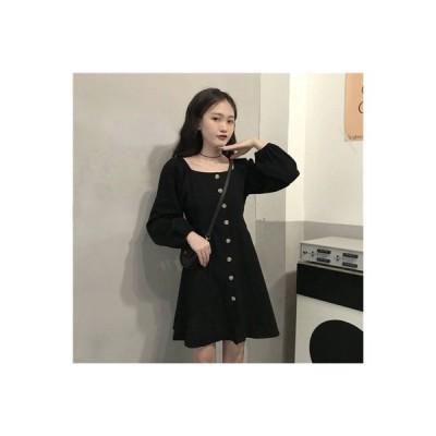【送料無料】秋 年 ウエストマーク 彼 本 風 長袖 気質黒 ワンピース 女 着やせ   364331_A63664-4427106