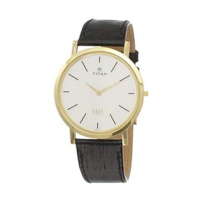 Titan メンズ Edgeスリムアナログ腕時計 ミネラルクオーツガラス 世界で最もスリムな腕時計 メタル/レザーストラ