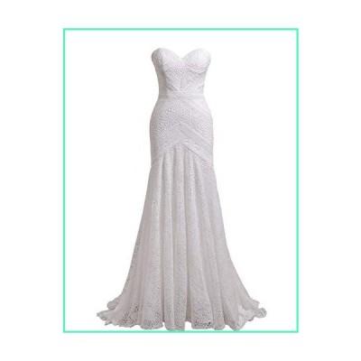 Women's Bohemian Wedding Dresses Sweetheart Mermaid Lace Bridal Gown (Ivory Lining-Zipper Up,US4)並行輸入品