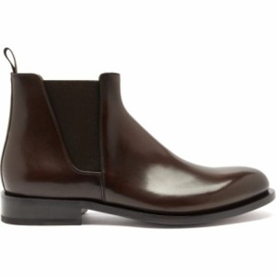 サントーニ Santoni メンズ ブーツ チェルシーブーツ シューズ・靴 Almond-toe leather Chelsea boots Brown