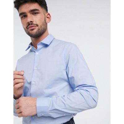 エイソス メンズ シャツ トップス ASOS DESIGN stretch slim fit work shirt in blue Blues