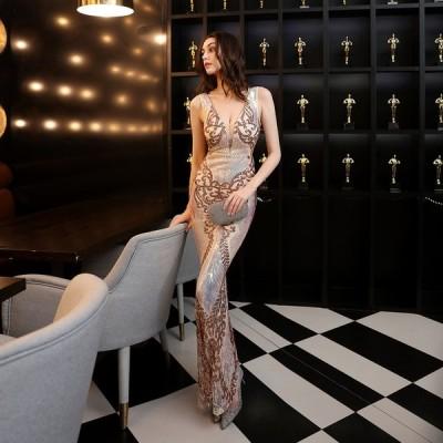 パーティードレス 安い 可愛い イブニングドレス ドレス スパンコール セクシー キャバ ナイトクラブ マーメイド