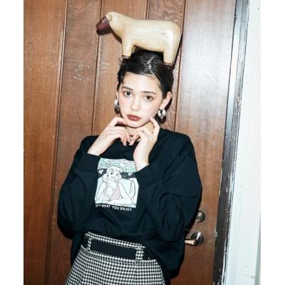 (REDYAZEL/レディアゼル)GIRLアメコミプリントロングスリーブTシャツ/レディース ブラック