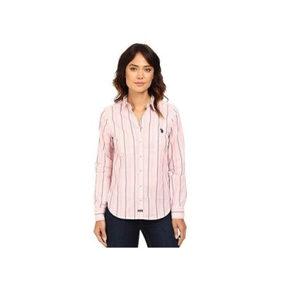 U.S. POLO ASSN. Casual Striped Blouse レディース シャツ トップス Prism Pink