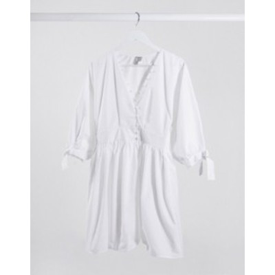 エイソス レディース ワンピース トップス ASOS DESIGN cotton poplin button detail mini smock dress with tie sleeves in white White