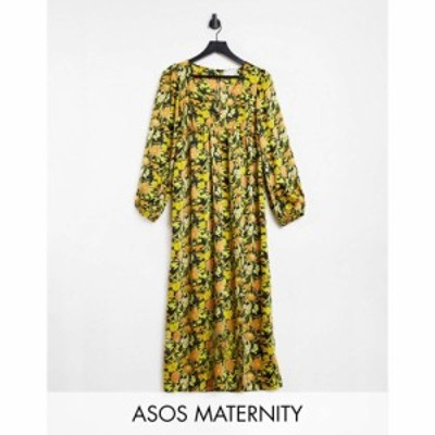 エイソス ASOS Maternity レディース ワンピース マタニティウェア ミドル丈 Asos Design Maternity Plunge Neck Midi Dress In 70S Flor
