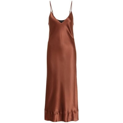 リーマシューズ Lee Mathews レディース ワンピース スリップドレス ワンピース・ドレス stella silk-satin slip dress Chocolate