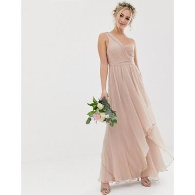 エイソス レディース ワンピース トップス ASOS DESIGN Bridesmaid soft layer maxi dress with one shoulder pleated bodice