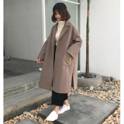 韓国 ファッション レディース コート 大きいサイズ チェスターコート スリット ゆったり 無地 大人可愛い カジュアル 通勤 秋冬