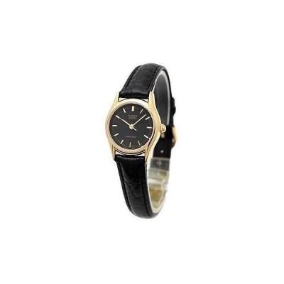 腕時計 カシオ Casio レディース ブラック レザー ストラップ 腕時計 ブラック ダイヤル LTP1094Q-1A