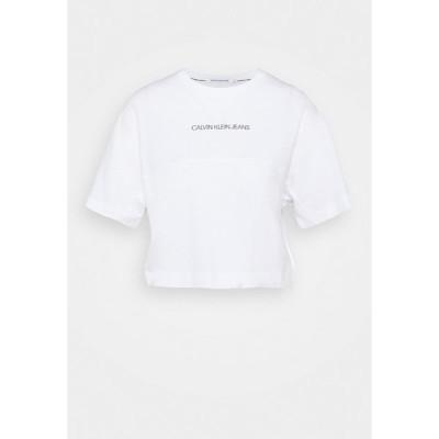 カルバンクライン Tシャツ レディース トップス BACK REFLECTIVE LOGO TEE - Print T-shirt - bright white