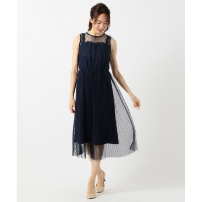 Feroux/フェルゥ エアリーフラワープリーツ ドレス ネイビー系 2