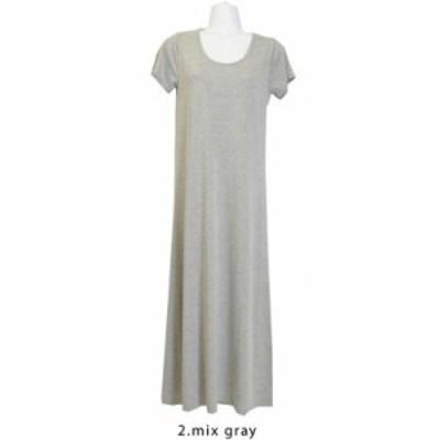 ファッション レディース マキシワンピース 半袖丸ネック LLサイズ/mix gray( hw8219 )アパレル サマー