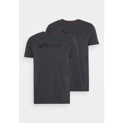 アルファインダストリーズ メンズ ファッション ALPHA LABEL 2 PACK - Print T-shirt - greyblack/black