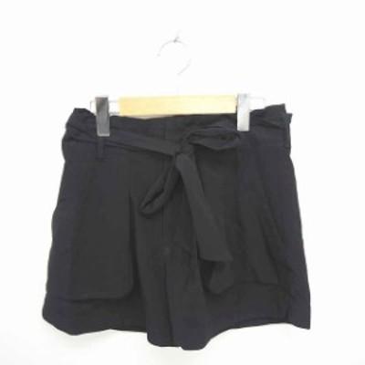 【中古】ボルニー BORNY パンツ キュロット ショート ウエストリボン 薄手 ジップフライ M 黒 ブラック /TT8
