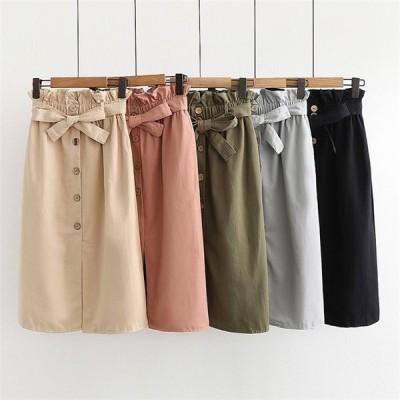 スカート ひざ丈 タイトスカート 膝丈 スカート タイト スリット フリーサイズ ピンク、ブラック、杏色、グリーン、グレー