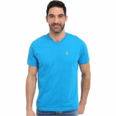 ユーエスポロアッスン U.S. POLO ASSN. メンズ Tシャツ Vネック トップス Short Sleeve Solid V-Neck T-Shirt Teal Blue