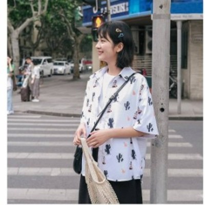 トップス シャツ 半袖 襟付き Vネック 柄物 プリント柄 個性的 ラフ カジュアル 春夏 UU011