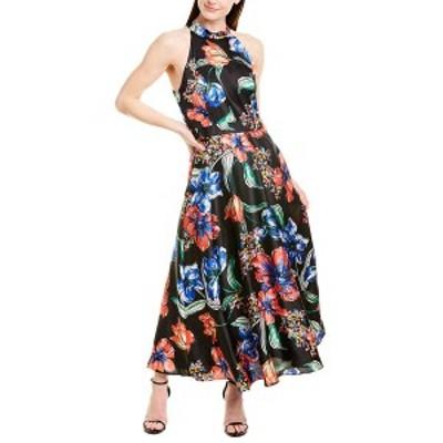 タハリ レディース ワンピース トップス Tahari ASL A-Line Dress painted blooms black