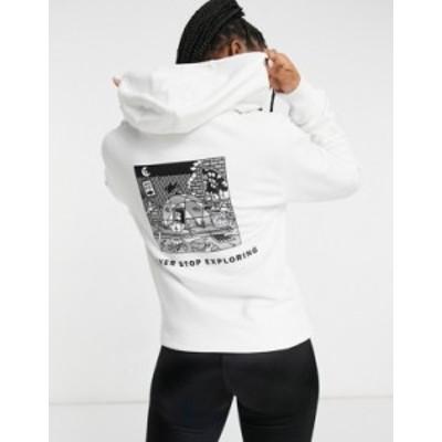 ノースフェイス レディース パーカー・スウェット アウター The North Face Black Box hoodie in white Tnf white