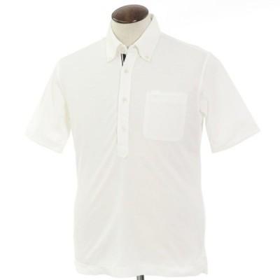 ニジューサンク ニジュウサンク 23区 コットン×ポリエステル 鹿の子 ボタンダウン 半袖ポロシャツ ホワイト 50