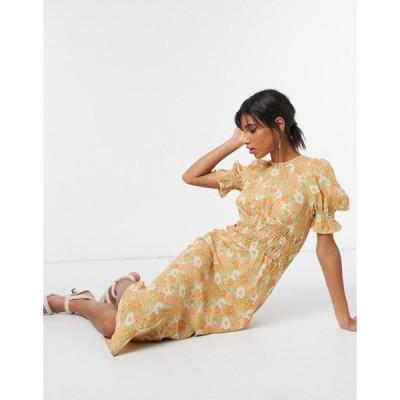 エイソス ミディドレス レディース ASOS DESIGN midi tea dress with shirring details in yellow based ditsy floral print エイソス ASOS イエロー 黄