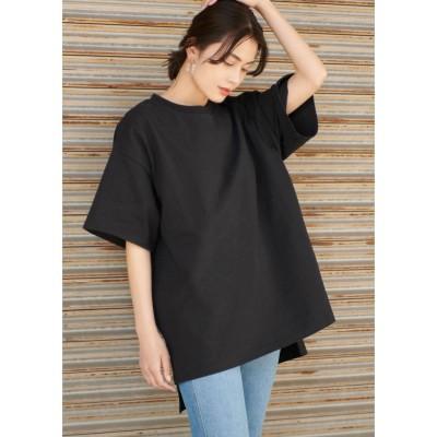 コカ coca オーバーサイズサイドスリットTシャツ (Black)