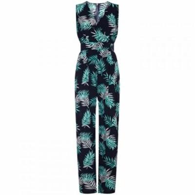 ユミ Yumi レディース オールインワン ワンピース・ドレス Palm Print Wrap Jumpsuit Navy