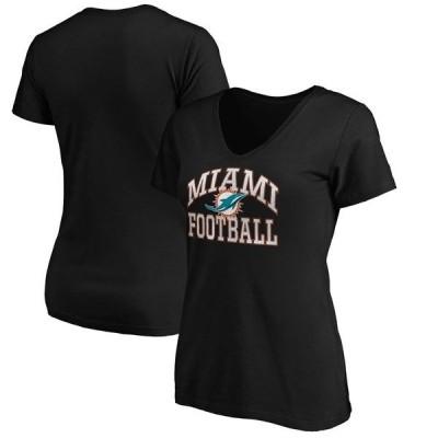 マジェスティック レディース Tシャツ トップス Miami Dolphins Majestic Women's Showtime Franchise Fit V-Neck T-Shirt