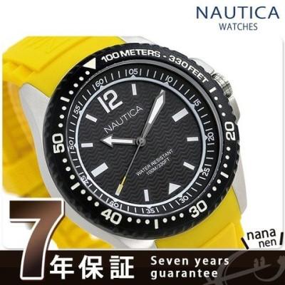 ノーティカ NAUTICA メンズ 腕時計 100m防水 ブラック×イエロー シリコンベルト 44mm NAPMAU005 マウイ