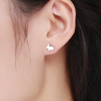 SIMPLOVE 白うさぎのイヤリング 100%本物の925スターリングシルバー低刺激性イヤリング のイヤリングイヤリングかわいい動物のイヤ