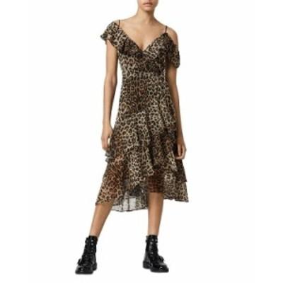 オールセインツ レディース ワンピース トップス Kari Leppo Ruffled Wrap Dress Leopard Yellow