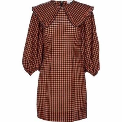 ガニー Ganni レディース ワンピース ワンピース・ドレス Checked seersucker minidress Flame