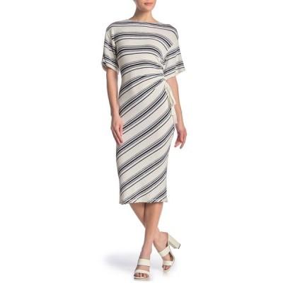 マックスタジオ レディース ワンピース トップス Striped Cinched Side Midi Dress WHTNVY84