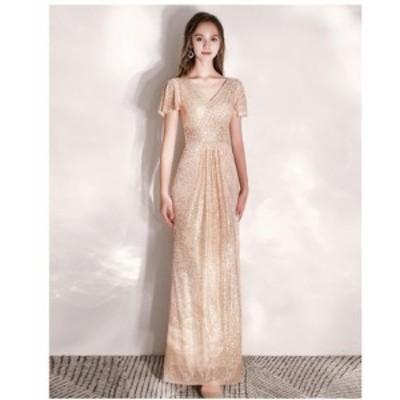 パーティードレス 結婚式 ワンピース Vネック ロングドレス フォーマルドレス お呼ばれ ウエディングドレス 大きいサイズ 上品 二次会 卒