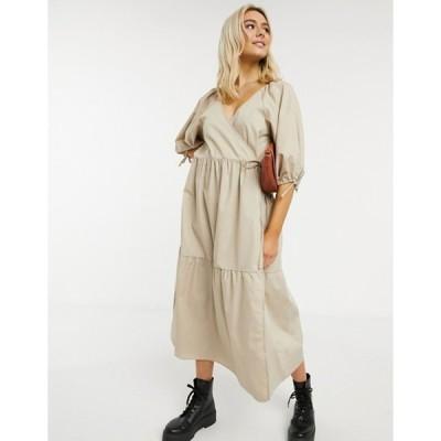エイソス レディース ワンピース トップス ASOS DESIGN cotton poplin smock wrap midi dress in stone